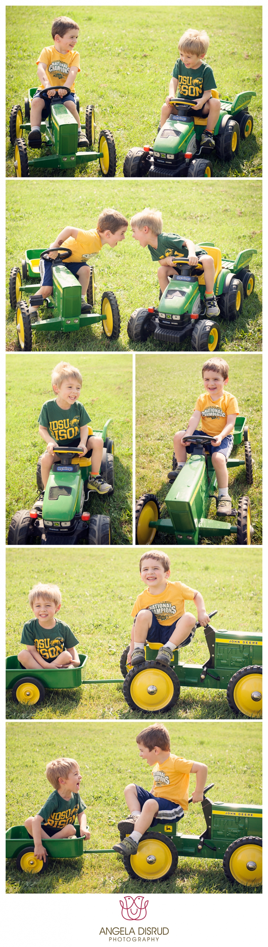 Photos of children with John Deere toys and tractors